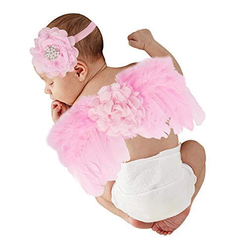 Hifot Recien Nacido Fotografia Kit, Bebe Plumas ángel Alas con Diadema Set, Bebe Fotografía Accesorios Prop Disfraz Rosado Flores Perla Estilo
