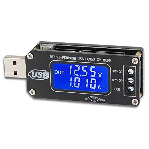 USB Tester, Droking DC-DC 3.5V-12V a 1.0-24V Step Up Down Buck Boost Converter Sistemas duales Módulo de fuente de alimentación Voltio Potencia actual Capacidad Tiempo Regulador de temperatura