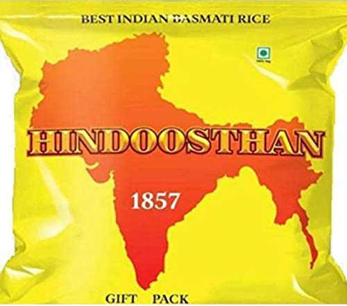 HINDOOSTHAN 1857 BEST INDIAN BASMATI RICE 2 lbs Non-GMO. New & Best. Excellent Aroma. Fine Taste. Quick Cooking. Healthy. Reduces Weight. Manages Diabetes. Try Once. Satisfaction Guaranteed.