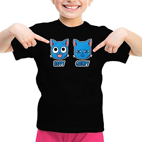 Okiwoki T-Shirt Enfant Fille Noir Fairy Tail parodique Happy Vs Grumpy Cat : Happy Grumpy (Parodie Fairy Tail)