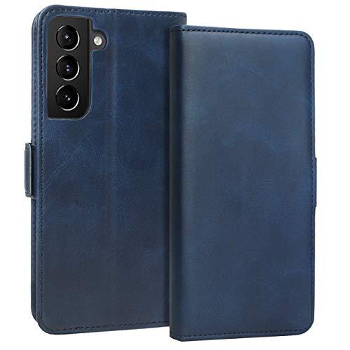 KUAO Leder Klapphülle Hülle Kompatibel mit Galaxy S21 Plus 5G, [Classic Wallet Serie] mit Magnetverschluss & Standfunktion Schutzhülle Tasche Handyhülle für Samsung Galaxy S21+(Plus) (Blau)