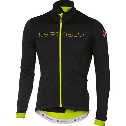 Castelli Fondo Full-Zip Long-Sleeve Jersey - Men's Light Black/Yellow Fluo, S