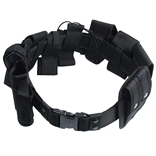 Davidsons Collection 10 in 1 Tactical Duty Belt, Utility Modular Equipment System Nylon Security Military Enforcement Belt with Pouches, for Security & Police (Adjustable 35-45 inches, Black)