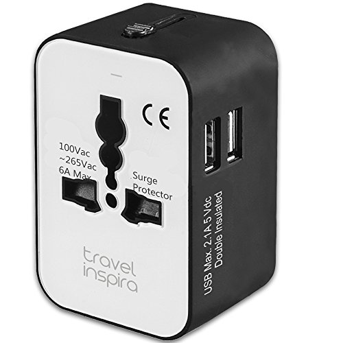 Travel Adapter, Worldwide All in One Universal Power Adapter AC Plug International Wall Charger with Dual USB Charging Ports for USA EU UK AUS European Cell Phone Laptop