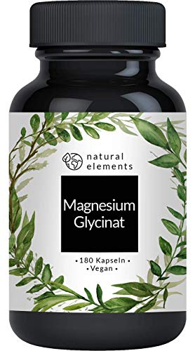 Magnesiumglycinat - Premium: Chelatiertes Magnesium - 180 Kapseln - 100mg elementares Magnesium pro Kapsel - Laborgeprüft, vegan, hochdosiert