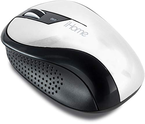 iHome Ergonomic Wireless Desktop Mouse with Scroll Wheel and 2 Buttons (Mac and PC Compatible) (White)
