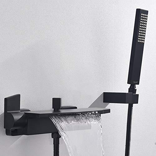 Badewannenarmatur Wasserfall Badewanne Wasserhahn Alle Kupfer Wand Wasserfall Dusche Heiße Und Kalte Badewanne Wasserhahn (Schwarz)