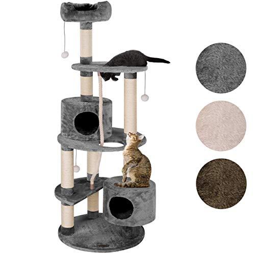 Happypet® Kratzbaum Grosse Katzen 167 cm (CAT040), Kletterbaum rund Katzenbaum Maine Coon, extra Dicke und stabile Natur-Sisal-Säulen ca. 9 cm, Haus, Höhle, Sisaltau, Spielball, GRAU