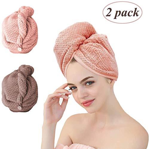 Haarturban,Eyscoco Turban Handtuch Set,2-tlg Mikrofaser Handtuchtrockner Handtuch Mit Knopf Super Saugfähig Für Freihändiges Trocknen Von Haaren. Haarhandtuch Für Alle Haartypen.
