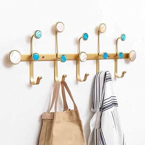 POETRY Jas haak rack muur mount metalen ijzeren hanger zware kleding hoed houder met shell decor punch of lijm installatie (kleur: zwart grootte: 6 haken)