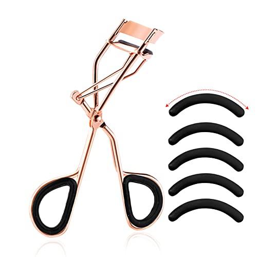 Ealicere Wimpernzange, Eyelash Curler (Roségold) inkl. 5 extra Ersatz-Gummi-Pads - Das Make-Up Tool,Wimpernzange Professioneller für alle Augenformen, Make-up Tool zum Wimpernbiegen