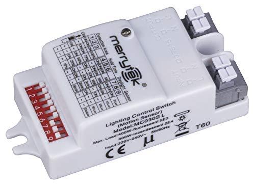 Merrytek Bewegungsmelder Mikrowellen HF Radar mit Tag/Nacht Sensor Reichweite 6 Meter für LED bis 400W