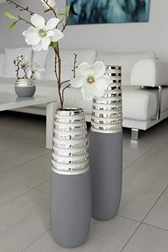 GILDE Bodenvase Newtown Grey grau matt/Silber glänzend L= 15,0 cm B= 15,0 cm H= 65,0 cm 47103
