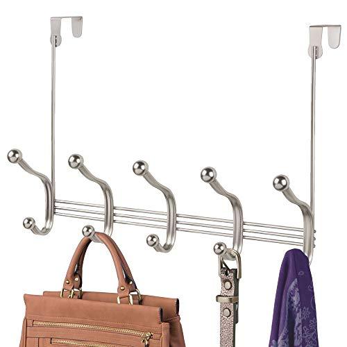 mDesign Hakenleiste aus Metall – zehn Garderobenhaken für die Tür in Flur und Bad – Türgarderobe für Mäntel, Jacken, Bademäntel, Handtücher – mattsilberfarben