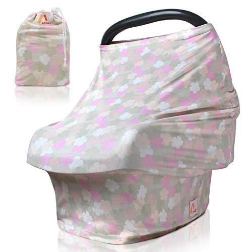 Amazy Autositzbezug für Babys inkl. Aufbewahrungsbeutel – Dehnbare Abdeckung für Babyschalen oder als Stilltuch und Einkaufswagenschutz für Ihr Baby   In 5 Designs erhältlich (Pastell   Blumen)