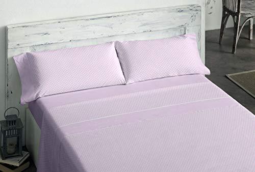 Burrito Blanco Juego de Sábanas de Franela 120 x 190/200 cm Rosa con Topos Blancos/Juego de Cama 555 de 120x190 hasta 120x200 cm, Diseño de Topitos Blancos en Fondo Rosa