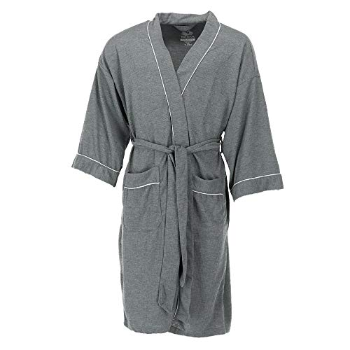 Fruit of the Loom Men's Waffle Knit Robe, Grey