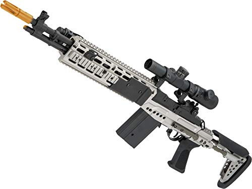 Evike Airsoft - CYMA Sport Airsoft Metal M14 EBR Designated Marksman Rifle AEG (Color: Silver/EBR Stock)