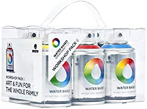 Montana Colors Pack Spray Water Based 6 Main Colors - Spray a Base de Agua, 100 ml, Set de 6 Piezas