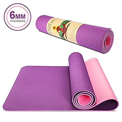 TWING Eco Friendly TPE Yoga Mat For Women Home Gym Non-Slip Workout Mat for Pilates, Fitness and Exercises 6mm 1/4 Inch Extra Long 72inch with Carrying Strap (Pink+Purple)