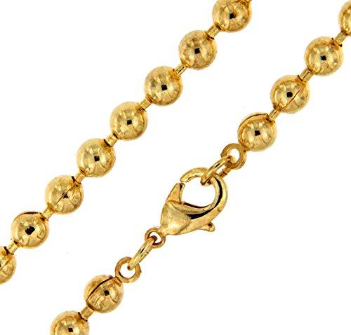 Kugelkette vergoldet 5 mm breit Länge 90 cm Halskette Goldkette Herren-Kette Anhängerkette Damen Geschenk Schmuck ab Fabrik Italien tendenze PG4,7-90