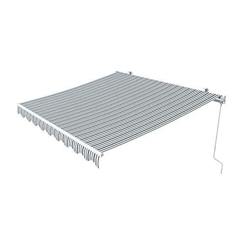 paramondo Gelenkarmmarkise Easy Balkonmarkise Sonnenschutz Terrasse, Kurbelbedienung, 2,95 x 2 m (Breite x Ausfall), Multistreifen Grau-Weiß