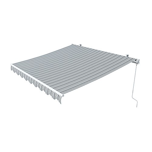 paramondo Gelenkarmmarkise Easy Balkonmarkise Sonnenschutz Terrasse, Kurbelbedienung, 3,5 x 2,5 m (Breite x Ausfall), Multistreifen Grau-Weiß
