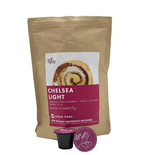 HiLine Coffee 'Chelsea Light Roast' Espresso Capsules, 20 Count, Single Pods Compatible with Nespresso Original Brewers