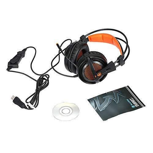 Sades A6 USB 7.1 Sonido Envolvente Auriculares estéreo para Juegos Aislamiento acústico Respiración Luces LED Auriculares USB para PC Gamer (Naranja y Negro) Jasnyfall