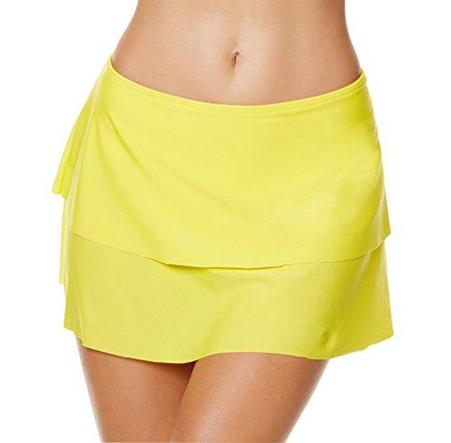 YoungSoul Damen Schwimmrock mit integrierter Hose Doppellagiges Bikinirock Badeshorts Strandrock Gelb EU 48