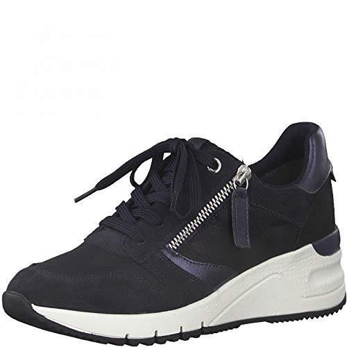 Tamaris Mujer Zapatillas, señora Bajo,Plantilla Desmontable,Zapatillas de Deporte,Zapatos Informales,Cuña de tacón,Navy Comb,38 EU / 5 UK