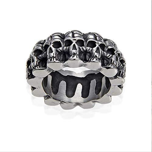 IWINO Vintage massief roestvrij stalen schedel biker ring mannen pleister skelet ontwerp ronde banden punk ringen mannen gotische sieraden geschenk