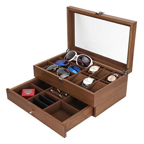 Caja de reloj, doble capa Retro, AccesoriosWatch BoxesGlasses Caja de almacenamiento para relojes, caja de exhibición de joyas, organizador y estuche de joyería