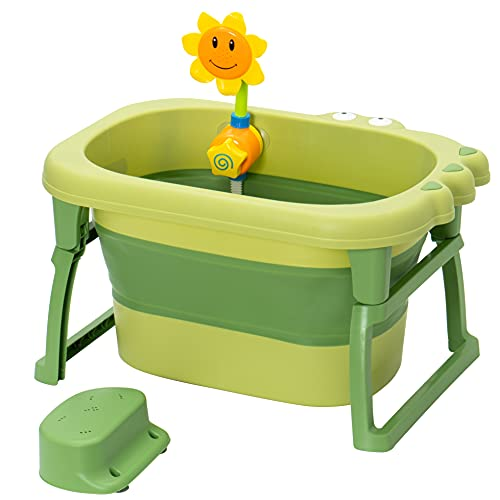 DIANZ3D Baby Bathtub Foldable Toddler - Tub Portable Newborn Lightweight Non Slip Seat Ages Up to 6 Years Green Color Bundle with a Sprinkler Shower Toy