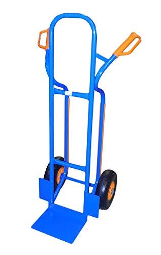 TRESTLES S04 Blau Sackkarre | Stahlgestänge | pannensicheres PU Rad | 250 kg Tragkraft | Treppenrutschkufen | Made in EU