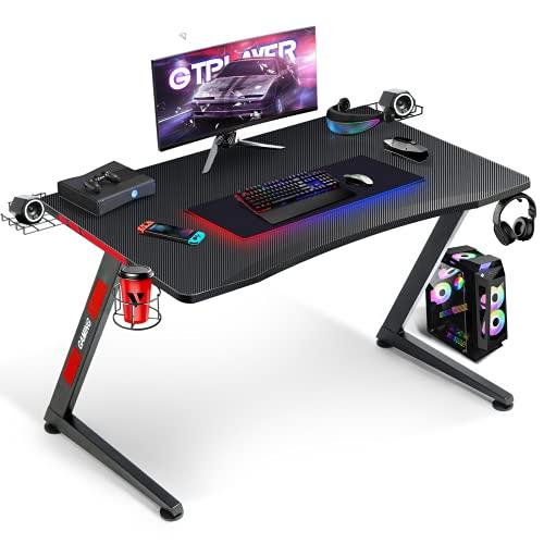 GTPLAYER Scrivania Gaming Ufficio Ergonomica con Sistema di Gestione dei Cavi per PC Computer, Supporto per Cuffia