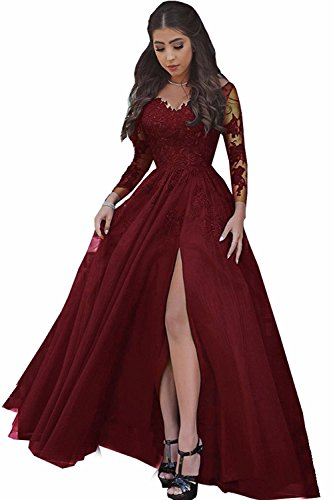 LastBridal Women Sexy V Neck Lace Appliques Long Sleeves Prom Dresses Formal High Slit Evening Gowns LB0076 US 18W Burgundy