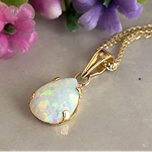 White Opal Necklace - Dainty Pear-Shape Teardrop Pendant, 14K Solid Yellow Gold Necklace, October Birthstone