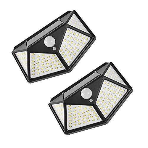 LED luz solaral aire Libre -270 Sensor movimiento gran angular Luz seguridad-100 cuentas lámpara 3 modos de iluminación inteligente-impermeable duradera luz solar montada en la pared - 2 piezas