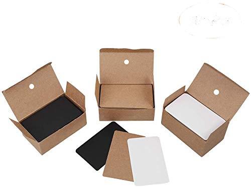 tiopeia 300 Stück Blanko Papier Karten Kraftpapier Visitenkarten Mitteilungs Karte Nachricht Karten Memory Wort Karten DIY Kraft Karten für Schule Home(Weiß + Schwarz + Kraft)