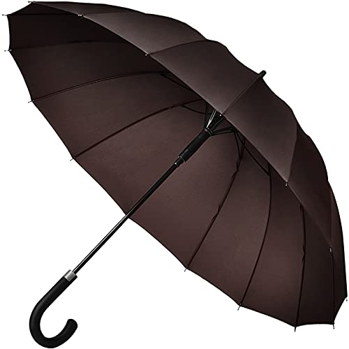 【Amazon限定ブランド】Muslish 傘 メンズ 16本骨 紳士傘 ジャンプ傘 大きい ワンタッチ 丈夫 テフロン加工 超撥水 梅雨対策 収納ポーチ付き1年保証