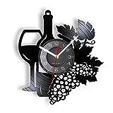 hhhjjj Botella de Vino de Frutas con Copa de Vino Disco de Vinilo Reloj de Pared racimo de Uvas Bar en casa decoración de la Bodega Cocina bodegón álbum de Fotos Reloj