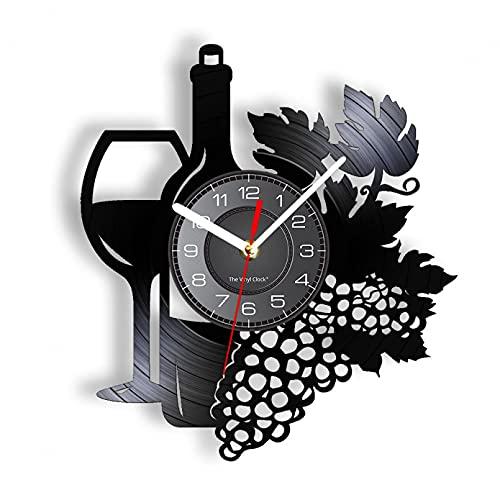TJVXN Botella de Vino de Fruta con Copa de Vino Disco de Vinilo Reloj de Pared Racimo de UVA Hogar Bar Bodega Decoración Cocina Bodegón Álbum Reloj sin LED