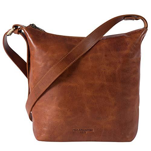HOLZRICHTER Berlin Shopper No 2-1 (M) Cognac - Damen Vintage Hobo Handtasche & Schultertasche handgefertigt aus Premium-Leder