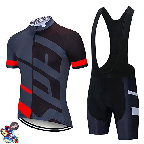 OHGGB Men's Short Sleeve Cycling Jersey Jacket Short Sleeve Shirt + Bib Shorts with 19D Gel Pad Quick Dry Breathable Mountain Clothing Bike Clothing,A,M