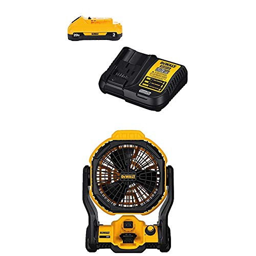 """DEWALT DCE511B 11"""" Corded/Cordless Jobsite Fan (Tool Only) with DCB230C 20V Battery Pack"""