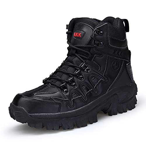 WANGT Botas De Montaña para Hombres High Gang, Zapatos De Trekking Antideslizantes Y Resistentes Al Desgaste Parte Superior De Vellón Reversible Zapatos Ligeros,Negro,41