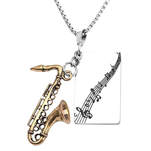 ZZYLHS Colgante, Collar de Instrumentos Musicales Hip Instrumento saxofón Acero Inoxidable Collar Música Hop Character Accesorios (Metal Color : 1)