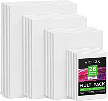 Arteza Canvas Boards for Painting Multipack of 28 5x7 8x10 9x12 11x14 Inches Blank White Canvas Panels 100% Cotton 8 oz Gesso-Primed Art Supplies for Acrylic Pouring and Oil Painting