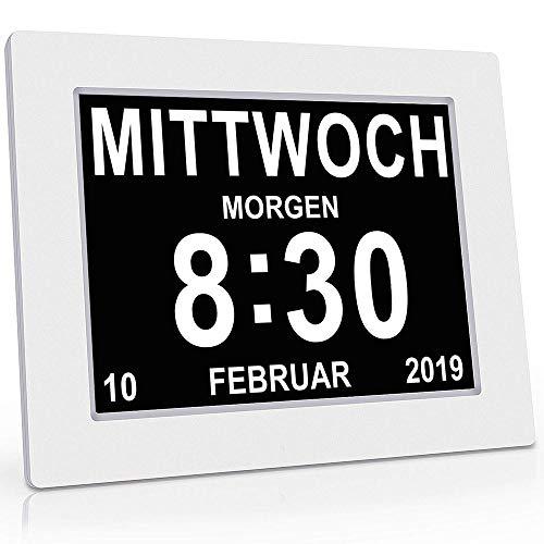 MOCN - Seniorenuhr 8 Zoll. Digitale Kalender und Seniorenuhr Foto-Funktion - Digitale Uhr, Wecker, Kalender für Senioren & Demenzkranke (z.B. Alzheimer) mit Erinnerungsfunktion